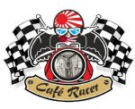 Retro CAFE RACER  Ton Up Club Design With Rising Sun Flag Motif For Japanese Bike External Vinyl Sticker 90x65mm